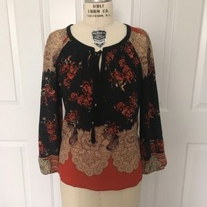 """Anthro """"Blossomed Silk Peasant Top"""" by Meadow Rue"""
